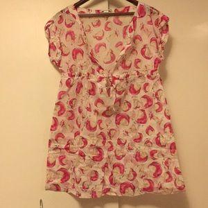 Diane Von Furstenberg apple blouse tunic small